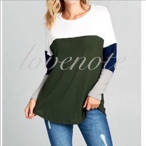 🏈 Softest Brushed Hacci Sweater Color Block Top